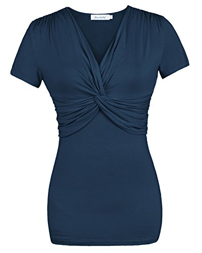 Ninedaily Women Tops Cross-front Twist Knot V Neck Ruched Blouse Blue XL