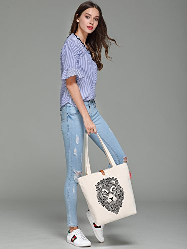 So'each Women's Lion Head Portrait Top Handle Canvas Tote Shopping Bag