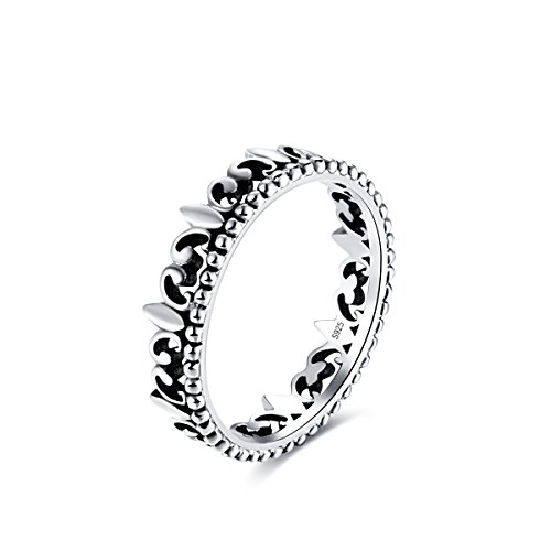 Kaletine Princess Queen Crown Ring for Women Girls Antiqued Sterling Silver 925 Band Width 4.7mm[US Size 8]