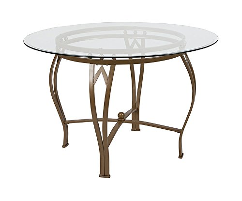 - Offex Contemporary 45'' Round Glass Dining Table with Matte Gold Metal Frame
