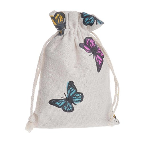 Bueer Muslin Favor Bag with Drawstring For Wedding Bridal Shower Bachelorette Party Avoid Hangover Kit Gift Favor Bag(25pc) (Butterfly) Butterfly Theme Favors