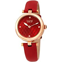 Burgi Women's BUR196RD Diamond Accented Argyle Dial Rose Gold & Red Leather Strap Watch