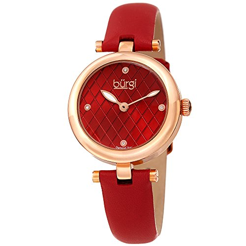 Burgi Women's BUR196RD Diamond Accented Argyle Dial Rose Gold & Red Leather Strap Watch ()