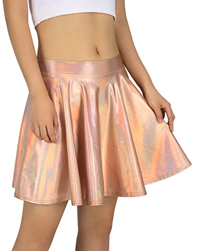 HDE Women's Shiny Liquid Metallic Holographic Pleated Flared Mini Skater Skirt (Rose Gold, Small) ()