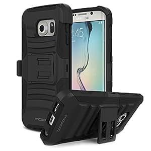 MoKo Holster Funda con Soporte y Girable Clip [Heavy Duty] Robusto para Samsung Galaxy S6 Edge 5.1 Pulgadas Android Smart Phone (2015 Release), NEGRO (NO va a caber el Galaxy S6 u otro dispositivo)