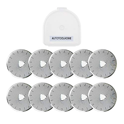 AUTOTOOLHOME Quilting 28mm Rotary Cutter Refill Replacement Blades Include Plastic Blade Storage Pack of 10