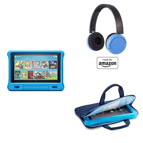 Fire HD 10 Kids Essential Bundle including Kids Fire HD 10 Tablet 32GB Blue + Poptime Bluetooth Headset (Ages 8-15) + Tablet Carrying Sleeve