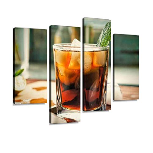 Alcohol, Rum, Cuba Libre, Cocktail, longdrink, Strong Drink, Canvas Wall Art Painting Pictures Modern Artwork Framed Posters for Living Room Ready to Hang Home Decor 4PANEL