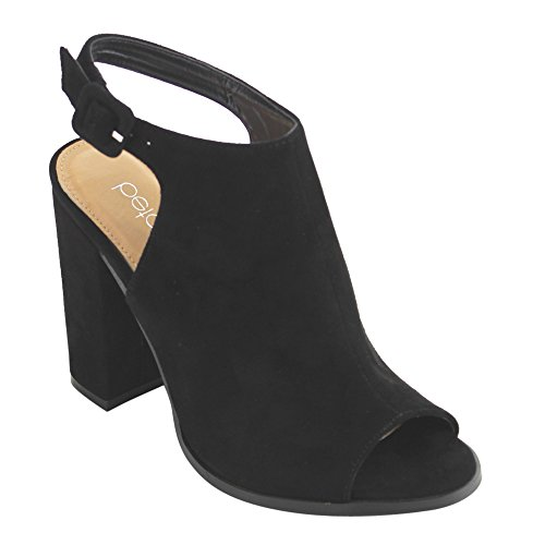 Betani FC68 Women's Ankle Strap Cut Out Back Block Heel Ankle Booties