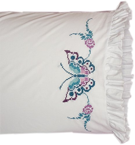 (Fairway 82638 Stamped Lace Edge Pillowcase, 30 by 20-Inch, Large Butterfly, 2-Pack )
