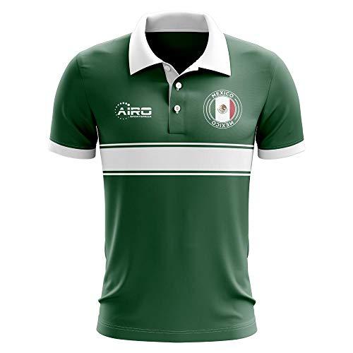 - Airosportswear Mexico Concept Stripe Polo Football Soccer T-Shirt Jersey (Green) - Kids