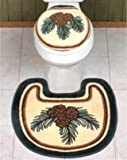 Lodge PINE CONE BATH SET Toilet Seat Cover contour Rug MAT SET