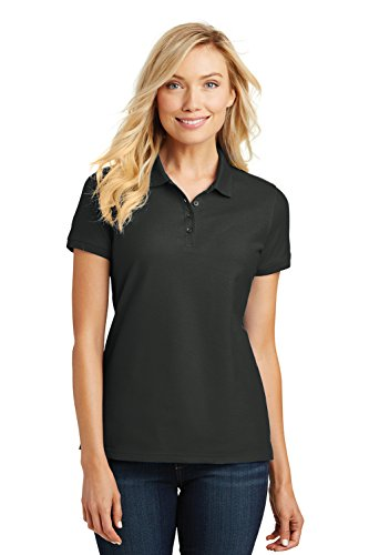 Port Authority Ladies Core Classic Pique Short Sleeved Golf Polo, Small, Deep Black (Golf Pique Womens Polo)