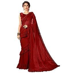 Glory Sarees Women's Lycra Saree With Blouse Piece