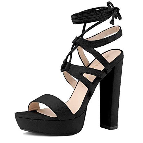 Allegra K Women's Lace up Strappy Platform Heels Black Block Heel Sandals - 7 M US (Black Cut Out Lace Up Platform Heels)