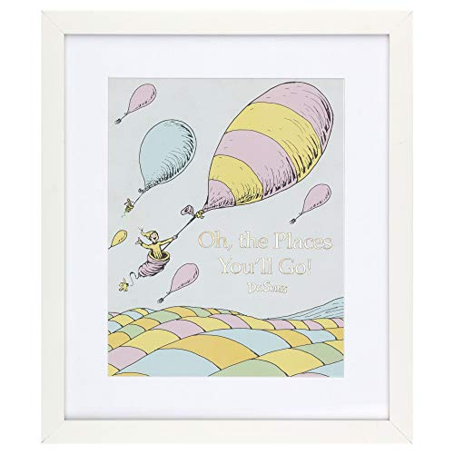 Patton Wall Decor Dr. Seuss Oh The Places You'll Go 12x14 Print Framed Wall Art, White]()
