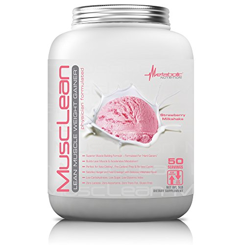 Metabolic Nutrition, Musclean, Whey Protein Meal Replacement, Weight Gainer, High Protein, Low Carb, High Fat, Keto Diet, Digestive Enzymes, 24 Vitamins and Minerals, Strawberry, 5 pound (50 ser)