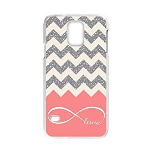 Love Infinity Forever Love Symbol Chevron Background Cream Gray Bling Samsung Galaxy S5 Case Durable Phone Cover Cases