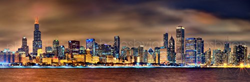 Chicago Skyline at NIGHT Color BORDER or NO BORDER OPTION 12 inches x 36 inches Photographic Panorama Poster Print Photo Picture Standard Size