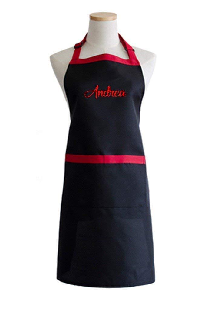 Delantal negro con ribete en rojo ajustable y personalizado con tu nombre.Regalo//Bodas//San Valent/ín//Cumplea/ños//Ella//Aniversario