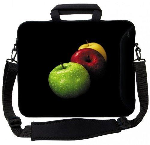 MySleeveDesign Notebook Carry Bag Laptop Neoprene Case with Shoulder Strap 15 - 15.6 Inch - SEVERAL DESIGNS - Colored Apple