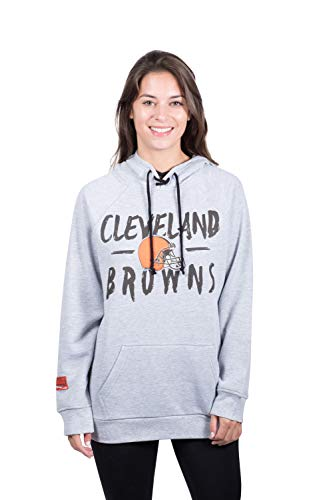 NFL Cleveland Browns Women's Fleece Hoodie Pullover Sweatshirt Tie Neck, Large, Heather Gray ()