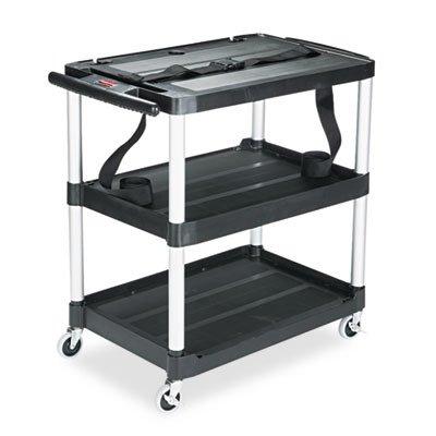 Rubbermaid Media Master AV Cart, Three Shelves, 18-3/4w x 32-3/4d x 33h, Black ()