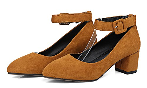 Strap Suede Simple Shoes Pointed Pumps Toe Brown Strap Dress Heels Womens Mid Buckle Chunky Ankle Aisun Faux qtAOw