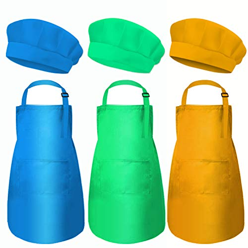 6 Pieces Kids Chef Hat Apron Set Adjustable Cotton Aprons Kitchen Bib Aprons for Boys Girls, Cooking Baking Wear with Pocket (Small , 3Color)