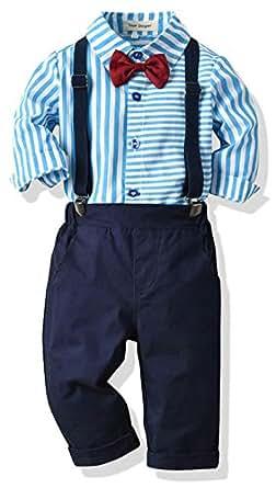SALNIER Toddler Dress Suit Baby Boys Clothes Sets Bowtie Shirts + Suspenders Pants 3pcs Gentleman Outfits Suits 6Month - 6Years (Blue001, 6-12M)