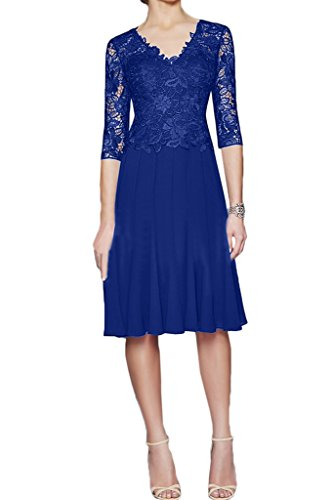 Promkleid Abendkleid Damen Linie Festkleid Spitze Elegant Ivydressing Halb Mutterkleid Aermel Royalblau amp;Chiffon A RxTwP8d