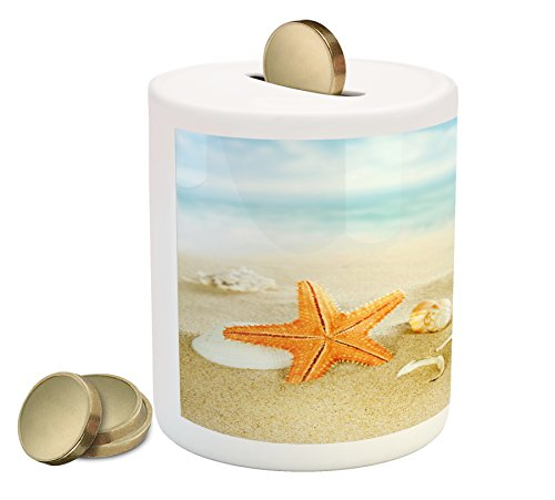 Ambesonne Starfish Piggy Bank By  Tropical Caribbean Seacoast With Different Shells And Animals Relaxing Vacation  Printed Ceramic Coin Bank Money Box For Cash Saving  Multicolor