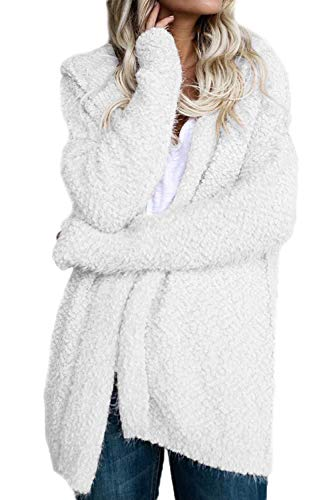 BoBoLily con Manga Outerwear Blanco Cardigan Especial Larga Gabardina Estilo Color Capucha Casual Elegante Invierno Chaqueta Sólido Anchos Mujer AAcWrq1