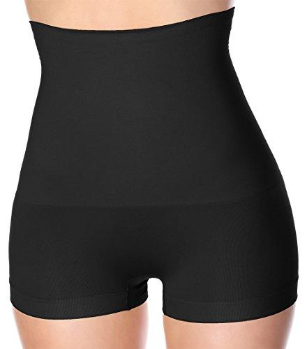 La-Reve Womens Hi-Waist Boyshort Shapewear - Body Shaper Panty, Black , Large  Hi Waist Short