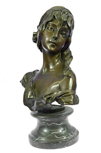Nice Roman Bronze - Nice Looking Bronze Art Nouveau Signed Roman Girl Bust Marble Base LRG