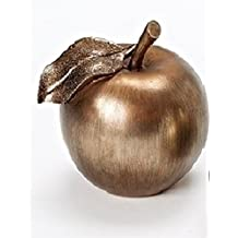 """5"""" Distressed Silver and Bronze Apple with Accented Glittered Leaf Christmas Table Decoration"""