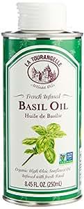 La Tourangelle Basil Infused Sunflower Oil 8.45 Fl. Oz, Sunflower Oil Infused with Fresh Basil for Cooking, Seasoning, and Dressing