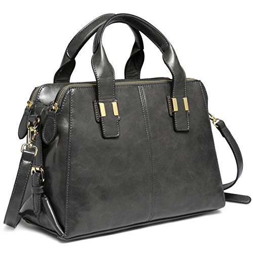 Satchel Bag for Women, VASCHY Faux Patent Leather Top Handle Handbag Work Tote Purse with Triple Compartments Gray