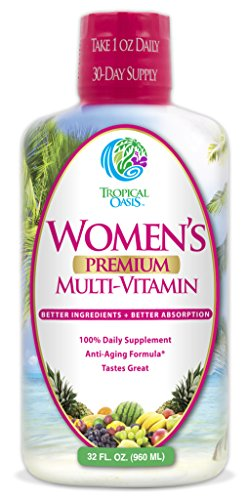 Tropical Oasis Women's Premium Multivitamin, Superfood, & Herbal Blend - Anti-Aging Liquid Multivitamin for Women. 100+ Ingredients Promote Heart Health, Brain Health, & Bone Health -1mo Supply