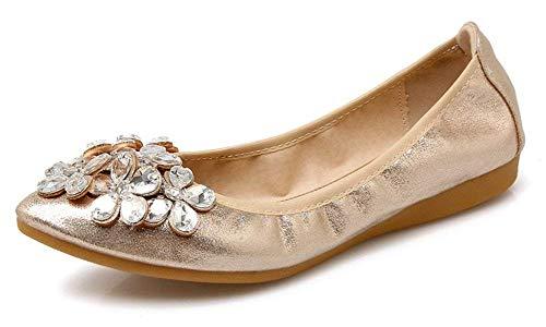 CANPPNY Women Wedding Flats Rhinestone Wedding Ballerina Shoes Foldable Sparkly Bridal Slip on Gold Flat Shoes ()
