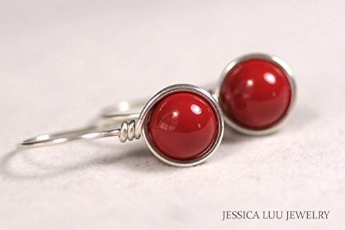 Red Coral Earrings - Sterling Silver Red Coral Earrings Swarovski Pearl Wire Wrapped Earrings