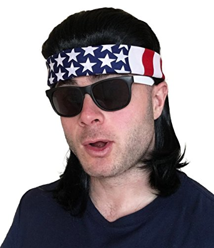 4 pc. Black Mullet Wig + USA Bandana + 2-Tone Sunglasses: Hillbilly Red Neck Long Funny Party Halloween Costume 80s Wig, Women's Men's 80's Mullet Wigs for Men Women Boys Girls Kids Adults (USA/2T) -
