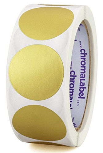 ChromaLabel 1-1/2 inch Color-Code Dot Labels | 500/Roll (Metallic Gold)