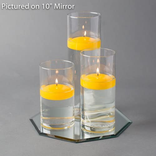 Eastland Octagon Mirror and Cylinder Vases Centerpiece with Richland Floating Candles 3 . 48 Piece 16 Mirror, Yellow