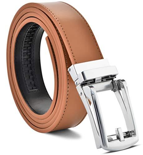 (Men's Genuine Leather Ratchet Dress Belt Custom Fit, Automatic Buckle, No Holes)