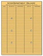 ユニバーサル®ライトブラウン文字列&ボタンオフィス間封筒クラフト封筒、Dept、10 x 13,2side (パックof4 )