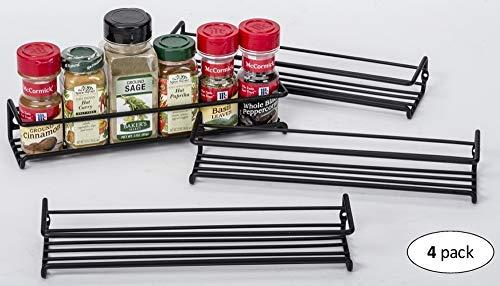 Set of 4 Wall-Mount Spice Rack Organizers – Hanging Racks for Cabinet Door or Pantry Door- Over Stove, Kitchen Cupboard Or Under Cabinet – by Unum