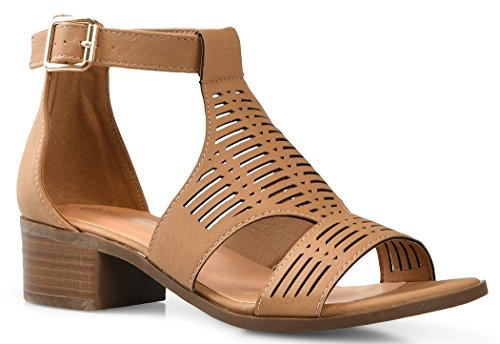 LUSTHAVE Women's Open Toe Strappy Buckle Platform Wooden Finish Heel Sandals Soft Cushioned Cut Out Shoes Tan 10