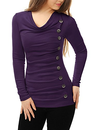 Allegra Womens Sleeves Buttons Ruched product image