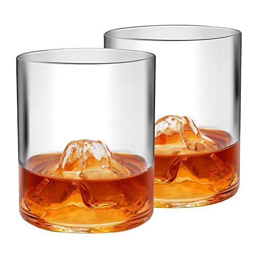 Mount Whisky Glasses Set of 2,Rocky Everest Mountain,Bourbon Scotch Ultra Clear Whisky Tumblers with 4 Whiskey Stones